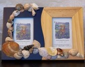 RESERVED for MJ - Dual Photo Frame Sea Shells Deep Navy Blue Light Pine Tide Pool