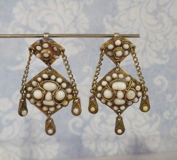 Clip Earrings Brass White Milky Glass Inset Middle East / Asia - Unique
