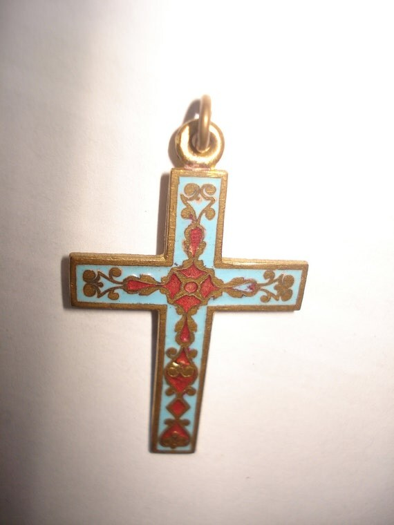 French Cloisonne cross NOW REDUCED
