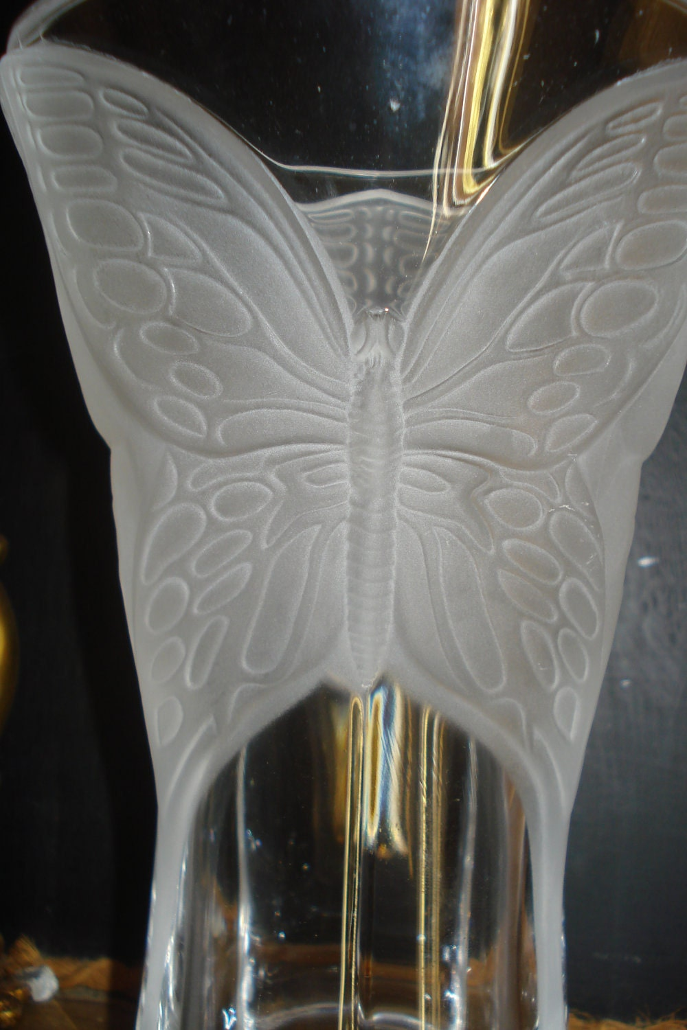 French Art Deco Crystal Butterfly Vase