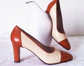 1960's Spectator Pumps, Brown and Cream, Vintage High Heel Shoes, Made in Italy , Size 8