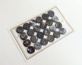 Vintage buttons mother of pearl, 24 pieces dark grey medium