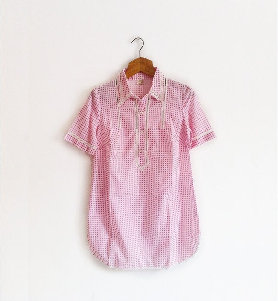 Pink Gingham Nightgown short sleeves
