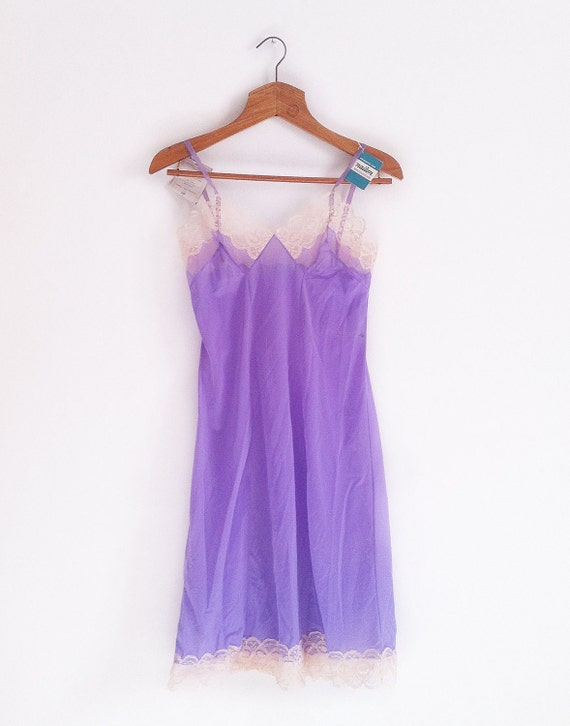 Vintage purple full Slip with soft pink Lace, size S / M