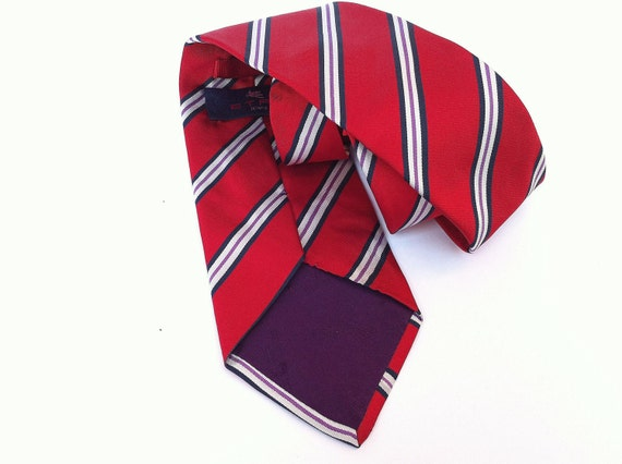 Etro silk regimental tie red