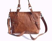 Leather Tote Bag / Messenger Bag - Vintage Retro Looking