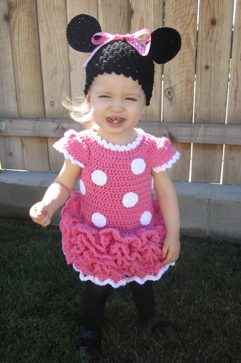 Minnie Mouse Crochet Dress And Ears In Pink By Juliescrochet33