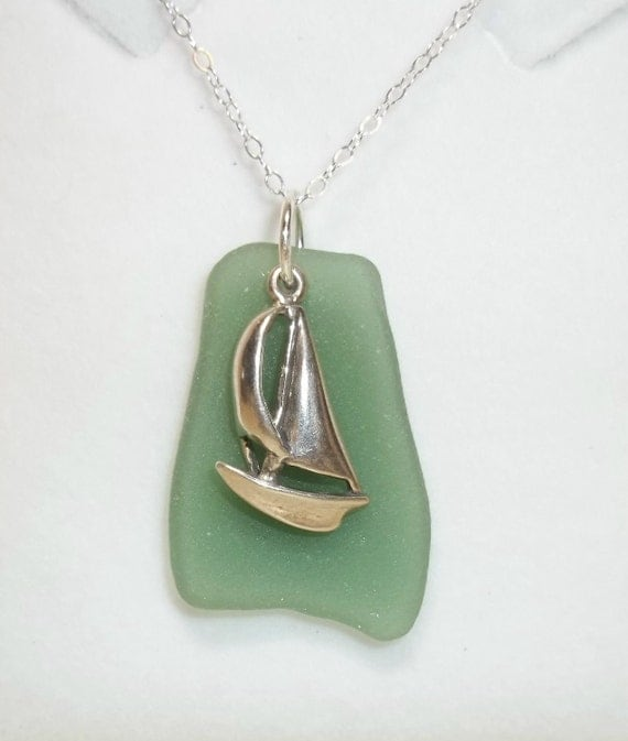 Sailboat and seaglass necklace