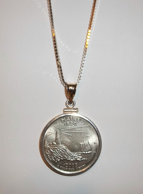 State of Maine quarter necklace
