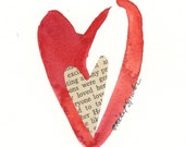Watercolor Heart Art Original Valentine Painting with Vintage Book Page