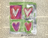 Water Color Heart Art Painting, LOVE SQUARED, on Vintage Book Page