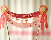 RESERVED - pretty in pink cake topper - HAPPY BIRTHDAY -
