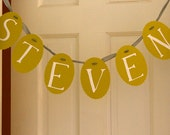 personalized, hand-painted name garland - white on green - steven, for example