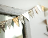 sweet and sophisticated pennant garland - 8.5 FT of brown, gold and white floral