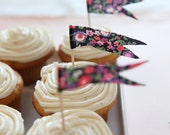 floral pennant flag cupcake toppers - blue