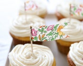 floral pennant flag cupcake toppers - green