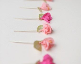 mini crepe paper flower cupcake toppers