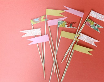 pink, yellow and floral pennant flag cupcake toppers
