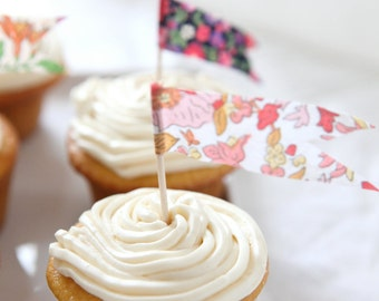 floral pennant flag cupcake toppers - pink