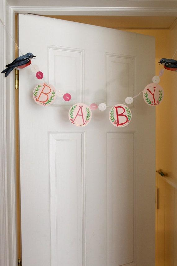 handpainted pink baby garland banner