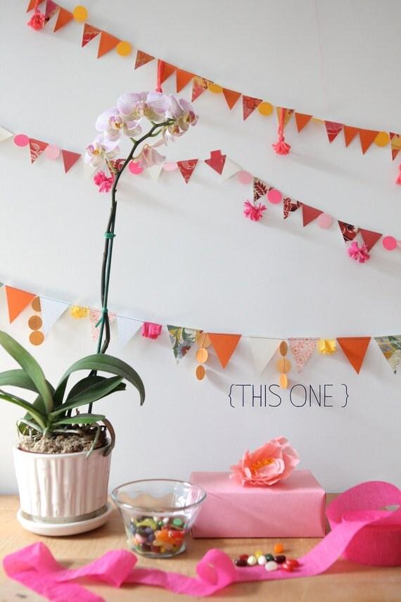 pink, orange & white garland with hanging orange dots