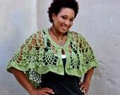 Bohemian Crochet Shawl in Green