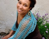 Boho Knit Shrug in Blue Turquoise - Caheez
