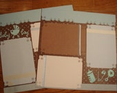 Little Baby Boy Brown & Blue Premade Scrapbooking Pages