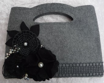 Black and Grey felt clutch bag embelished with pearls, felt and lace flowers