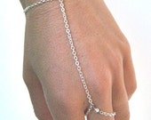 slave bracelet - hand chain // delicate silver plated chain hand bracelet