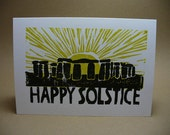 Solstice Holiday Card - Linoleum Print on 100% PCW Recycled Paper