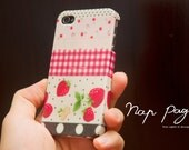 iphone 4s case, case for Iphone 4 Blackberry mobile Case handmade : Mixed Strawberry