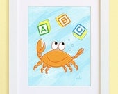 Crab Kid print -- Pastel Series -- child's room or nursery -- art for kids -- cartoon illustration