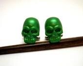 Green Pearlescent Skull Cufflinks Handmade wedding favors groomsmens anniversary gifts