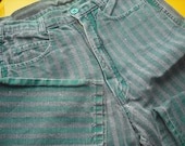 vintage 80's high waisted punk jeans green and charcoal linen