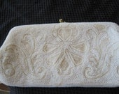 50s Hand Beaded White Delill Purse Evening Bag Prom Wedding