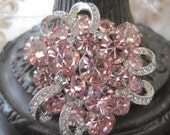 Reserved for RobertaStunning Signed Eisenberg Pink Rhinestone Brooch Pin