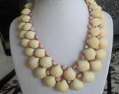 Vintage Faux Seashell 2 strand  Necklace