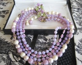 Vintage Selini 4 Strand  Lavender Necklace
