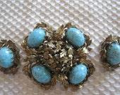 Vintage Designer Signed Turquoise Brooch Set