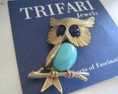 RESERVED for SoledadVintage Crown Trifari Aqua Owl Brooch