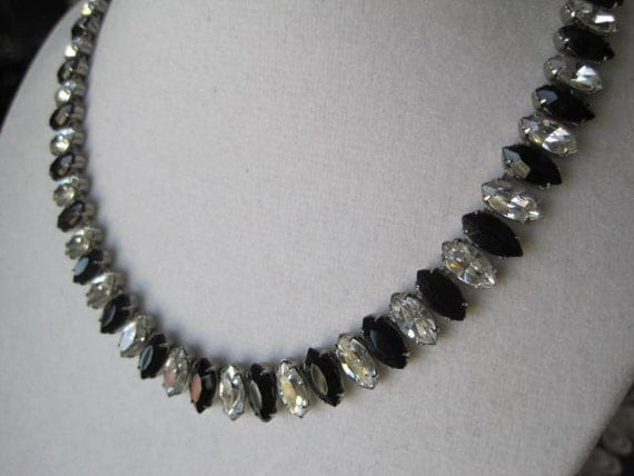 Vintage Black Clear Marquis Set  Rhinestone Necklace