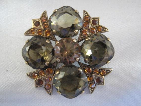 Vintage Rhinestone Maltese Cross Brooch Pin