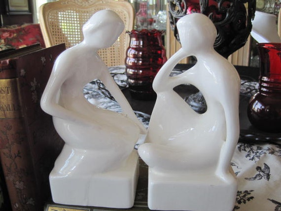 Mid Century Ceramic Man Woman Bookends