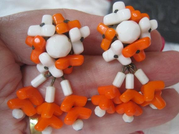 Vintage Orange Plastic Drop Earrings