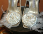 Emma CUSTOM WEDDING Shoes. Satin and Lace Special Occasion Ivory Satin with rosette, pearl and feather embellishment.