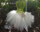 Custom made Ivory  Shimmer Tulle Flower Girl Tutu