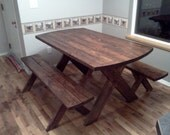Gail's Picnic Table w/Benches - Classic Stained