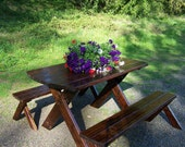 Picnic Table - Classic Stained - Patio Table & Benches - Wood Furniture