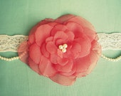 Beautiful Coral Flower Baby Headband